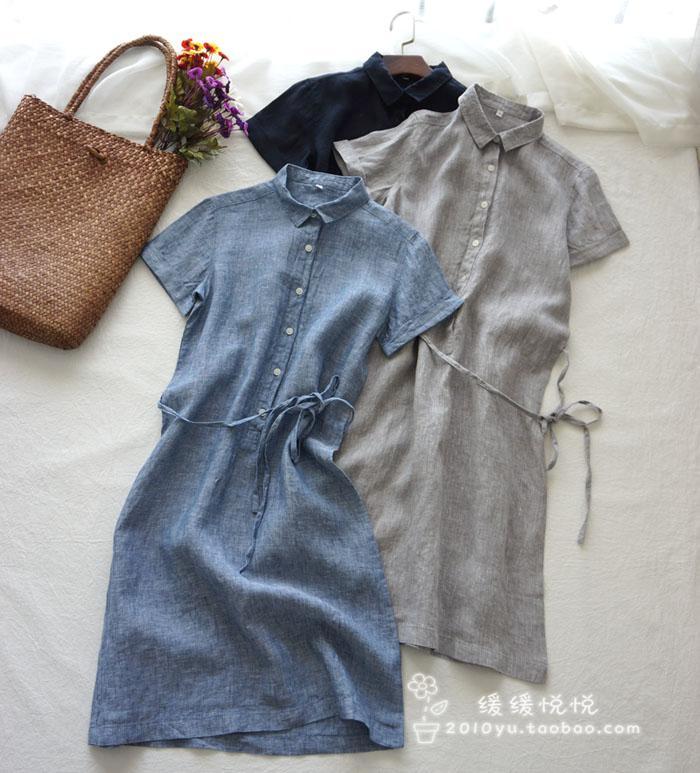 文艺气质小宽松显瘦夏 优质色织亚麻短袖衬衫连衣裙 OL风有大码
