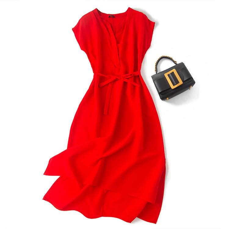 重磅19姆米真丝 法式优雅不收后悔 收腰系带OL范  修身显瘦连衣裙