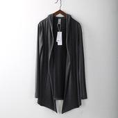 原创设计师男装春秋季时尚棉针织衫开衫中长款薄男士外套潮流连帽