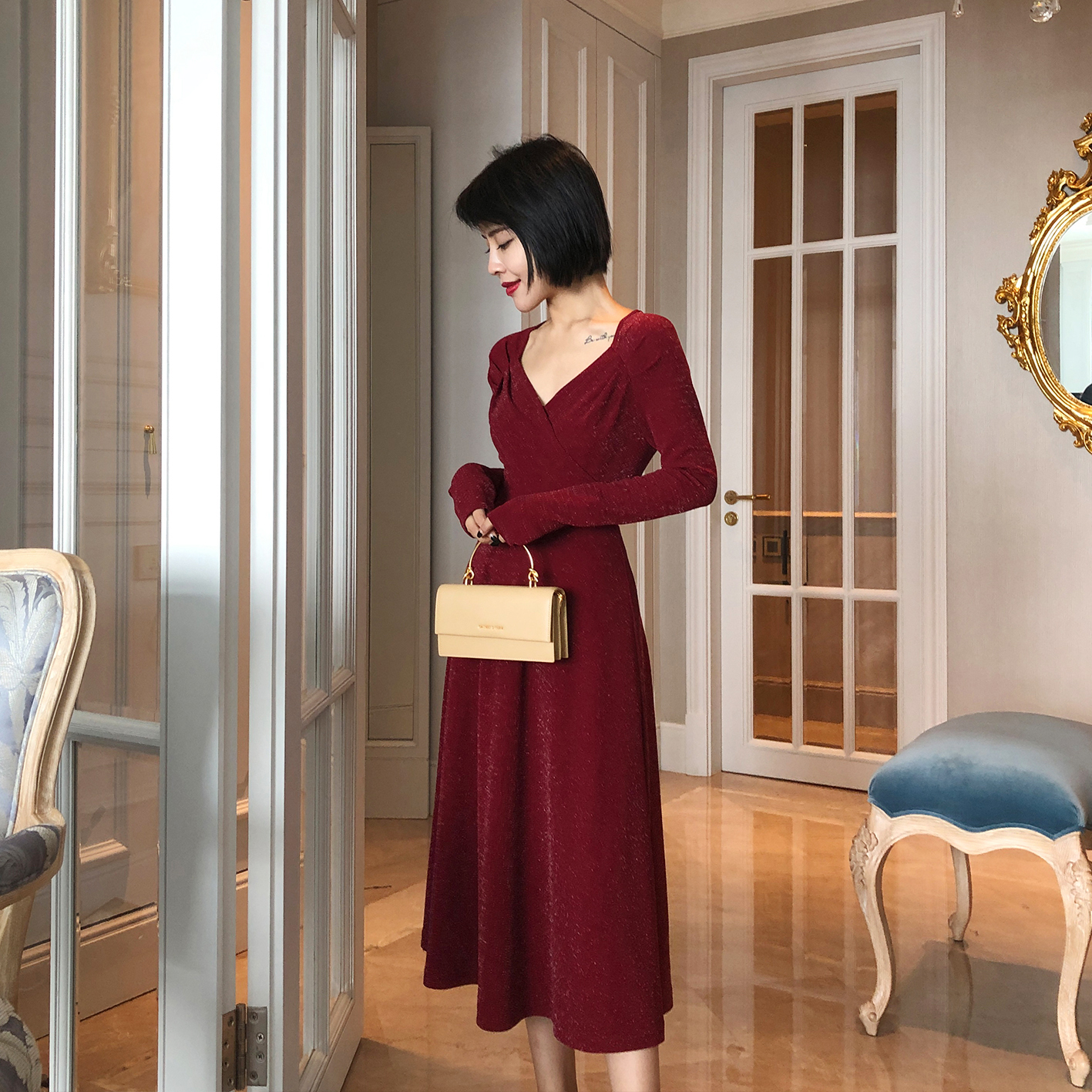 aloha studio露合制衣法式女连衣裙