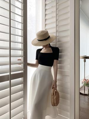 露合制衣 赫本风伞裙半身裙女夏中长款高腰遮胯裙子显瘦摆裙洋气