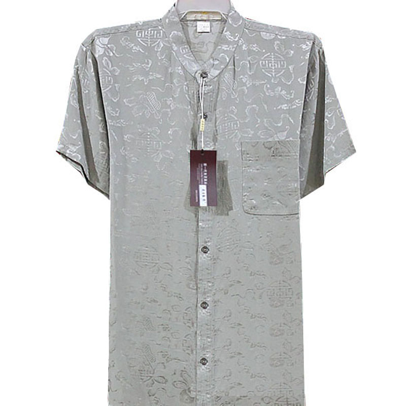 Special price 100% Silk mens Short Sleeve Shirt mulberry silk middle aged and old dad half sleeve shirt silk shirt summer dress