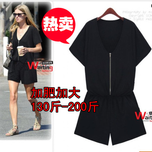 Black piece pants large yards fat sister summer new European and American foreign trade was thin V neck jumpsuit Shorts