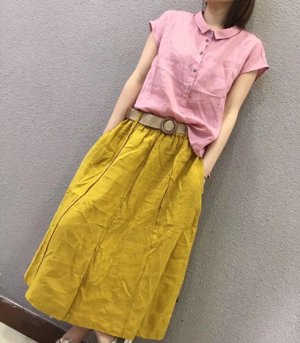 小个子棉麻女装甜美清新可爱娃娃领麻料短袖森女系学生19夏款衬衫