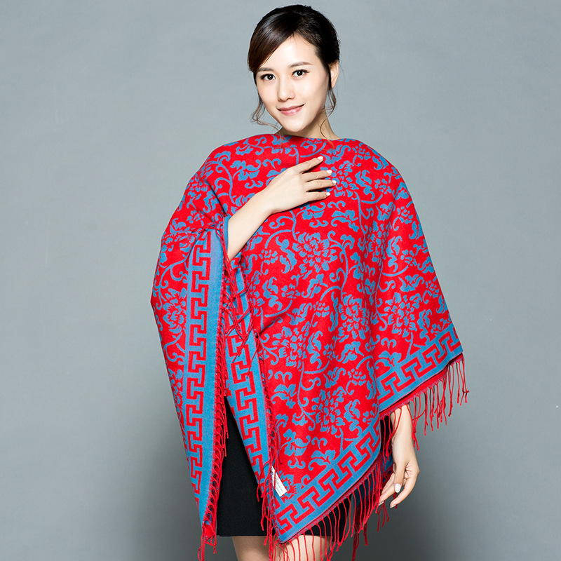 Square scarf womens national style thickened square scarf versatile in autumn and winter