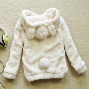 秋冬学生女装可爱宽松加绒熊猫兔耳朵羊羔绒卫衣加厚毛毛绒外套