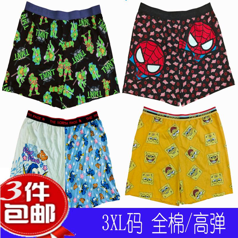 3XL plus cotton large Short Pajamas thin home mens Marvel cartoon SpongeBob spider man aro pants