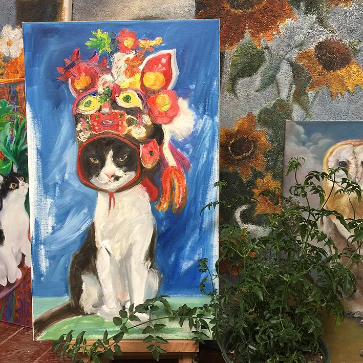 纯手绘奶牛猫搞怪黑白猫老虎头油画