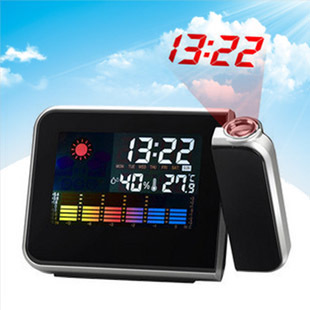 Cute creative personality LED projection clock with temperature hygrometer fashion alarm clock mute luminous electronic clock