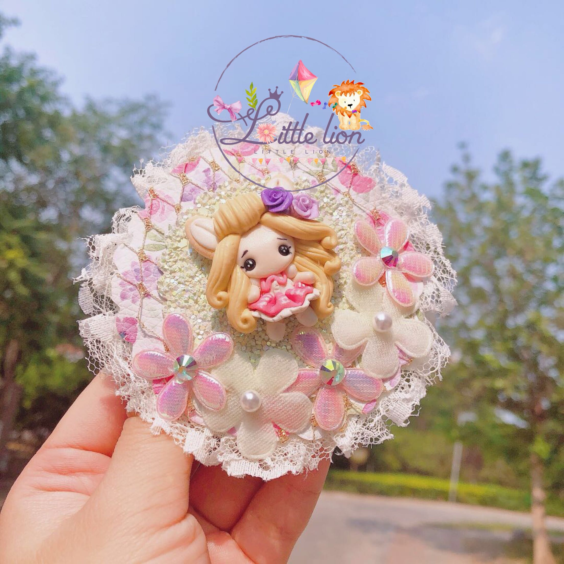 British flash cloth hairpin, hand imported soft clay accessories material Lolita disc children Brooch hair ornament