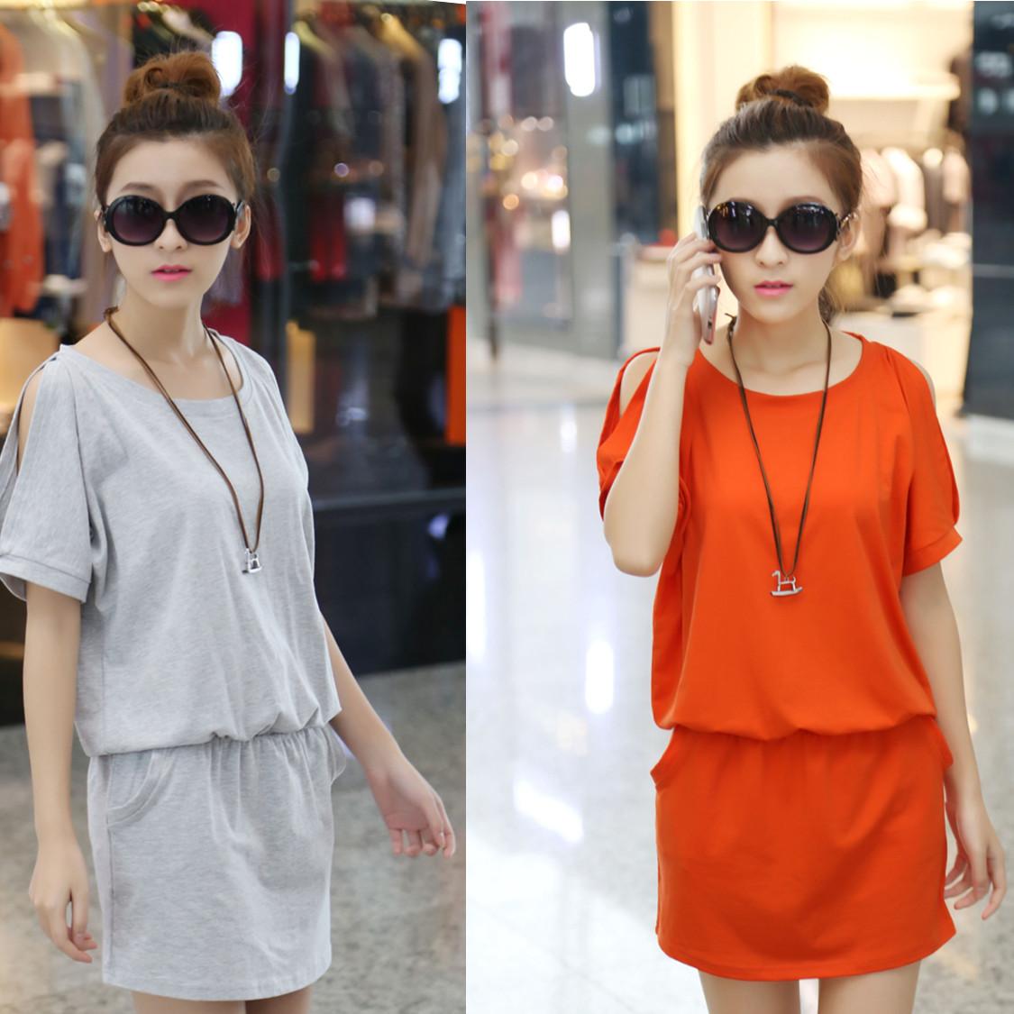 Корейская версия женщин платье лето Весна 2014 новые плюс размер платья летом жира мм тонкий пакет mail