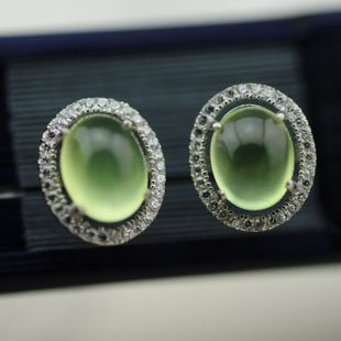 15 years of the latest arrival one camera Need prehnite Micro Pave zircon 925 Silver earrings oval