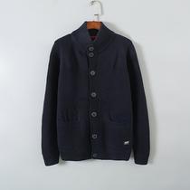 2020年春装大码加厚男士纯棉毛衣立领开衫针织线衫男休闲外套99