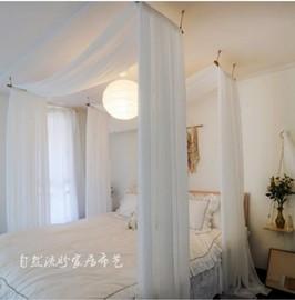 短木吊杆对纱 纱幔东南亚风美式民宿客栈酒店麻纱床幔床帘带杆图片