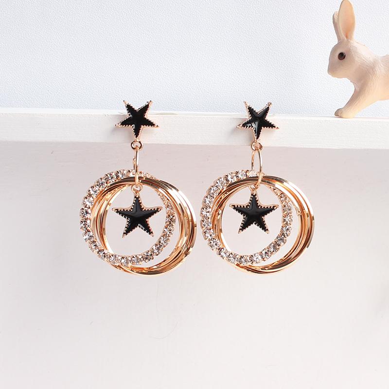 (用1元券)韩国韩版超美气质镶钻黑色长款耳环