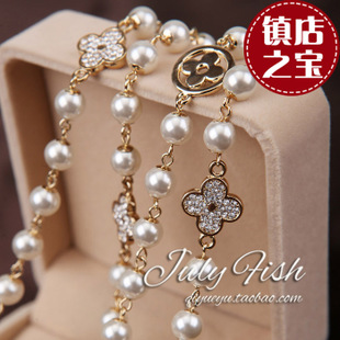 Zhendian treasure Korean Shopping wild pearl sweater chain necklace long section of multi Korean female Korean fashion