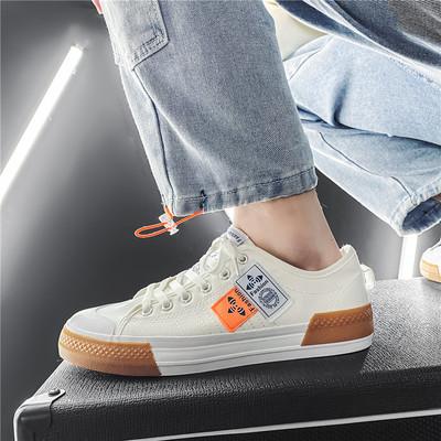 X1371P45男鞋2021年春季新款韩版黑色低帮帆布鞋百搭潮流运动板鞋