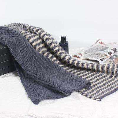 N9529P35蓝针织毛线拼色围巾女新款围巾男士围巾加厚横条纹围脖女