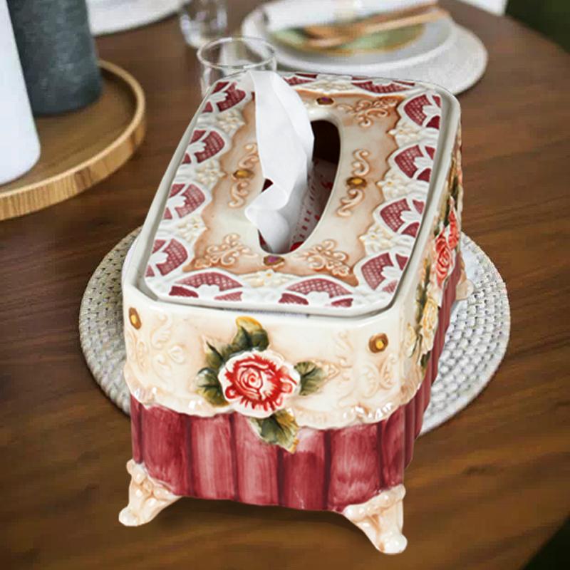 欧式维多利亚风格陶瓷纸巾盒大号工艺抽纸盒茶具餐桌家居装饰摆设