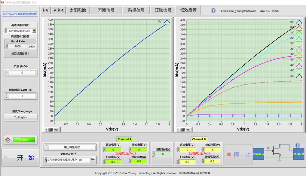 Keithley2600 Test Software, IV, VIR-t, солнечные элементы, выход сигнала, тестирование FET