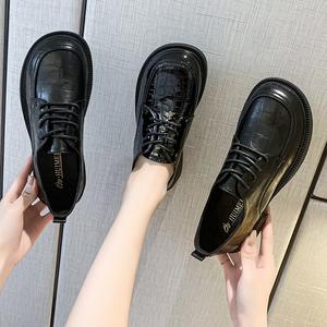 森女小皮鞋女2021新款英伦风圆头百搭小众平底系带单鞋软底jk女鞋