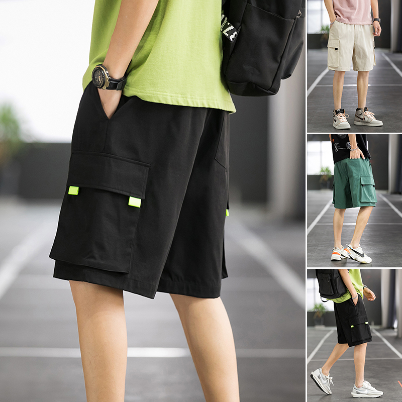 Basketball court summer trend loose straight casual shorts mens overalls 20208-k863 P30