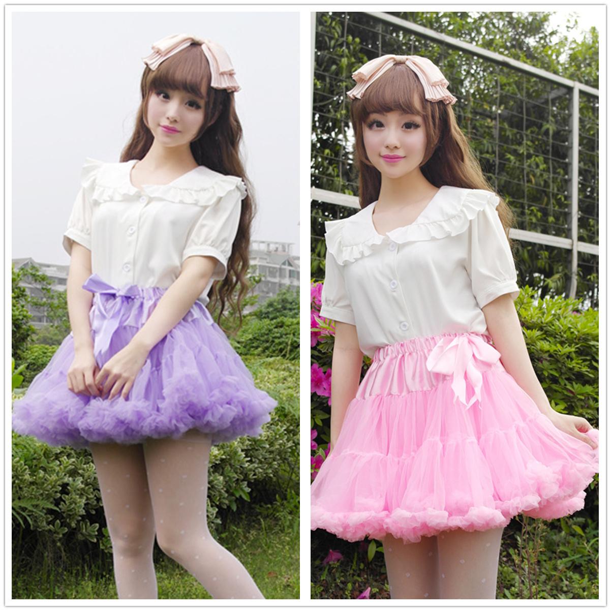大裙摆cosplay舞台Lolita纯色A字纱裙软纱半身裙裙撑网纱蓬蓬裙