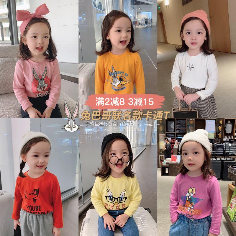 辰辰妈童装2020新款兔巴哥卡通系列女宝宝圆领长袖潮儿童T恤上衣