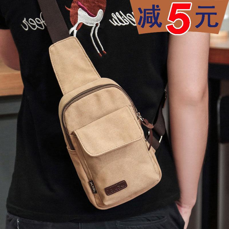 Mens chest bag Denim Wear Resistant canvas bag mens leisure shoulder bag retro straddle bag sports outdoor Backpack