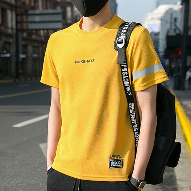 2019新款男士短袖t恤新款圆领宽松衣服夏季潮流纯色T恤男