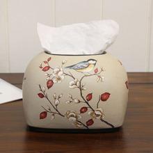 美式田园小号纸巾盒 欧式复古陶瓷抽纸盒 餐桌茶几装饰工艺品摆件