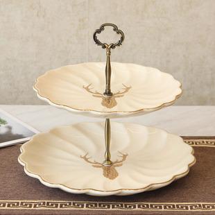 现代轻奢简约陶瓷双层果盘 北欧美式烘培蛋糕盘 创意零食糖果盘