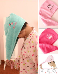 The new mint green elephant elephant dry hair hat super absorbent quick-drying cap shower cap melody