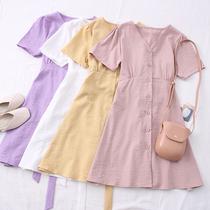 2020夏季新款时尚百搭小众v领单排扣收腰绑带短袖连衣裙桔梗裙女