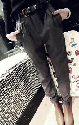 哈伦休闲裤女高腰宽松哈伦裤西装长裤48p41