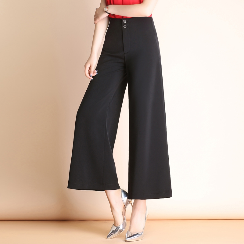 Korean High Waist Wide Leg Pants womens nine point pants 2021 autumn new large loose casual womens pants big foot wide leg pants