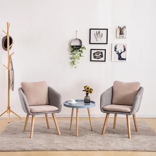 北欧房间懒人实木小沙发网红款阳台单人靠背店铺洽谈休闲沙发椅子