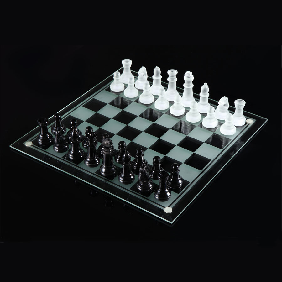 Специальное предложение стекло шахматы кристалл 35*35CM стекло шахматная доска + стекло черно-белое кусок король высокий 7.6CM