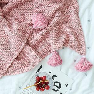 Ins北欧全棉纯色毛线毯盖毯简约毛球针织毯灯笼球毯空调沙发毯子