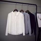 基础款长袖有垂感雪纺白衬衫女职业装气质双层防透内搭春秋上衣