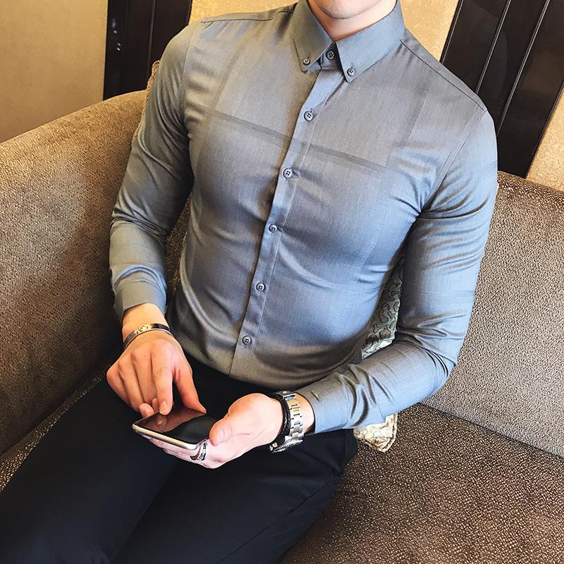春款英伦风商务休闲修身 男士长袖衬衫免烫 衬衣  1068P70