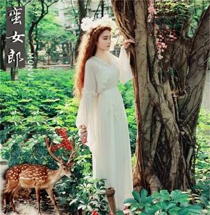 蠻女郎真絲仙女洋裝洛麗塔日常連衣裙希臘女神白色長裙仙氣質長款