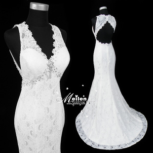 Fishtail wedding Korean flowers openwork lace halter wedding dress was thin tail wedding latest 8611