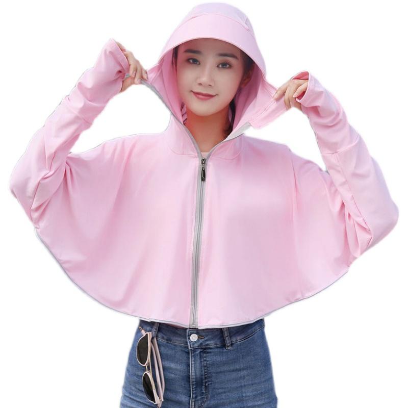 夏季冰丝防晒衣女薄外套2021新款长袖百搭洋气连帽透气骑车防晒服