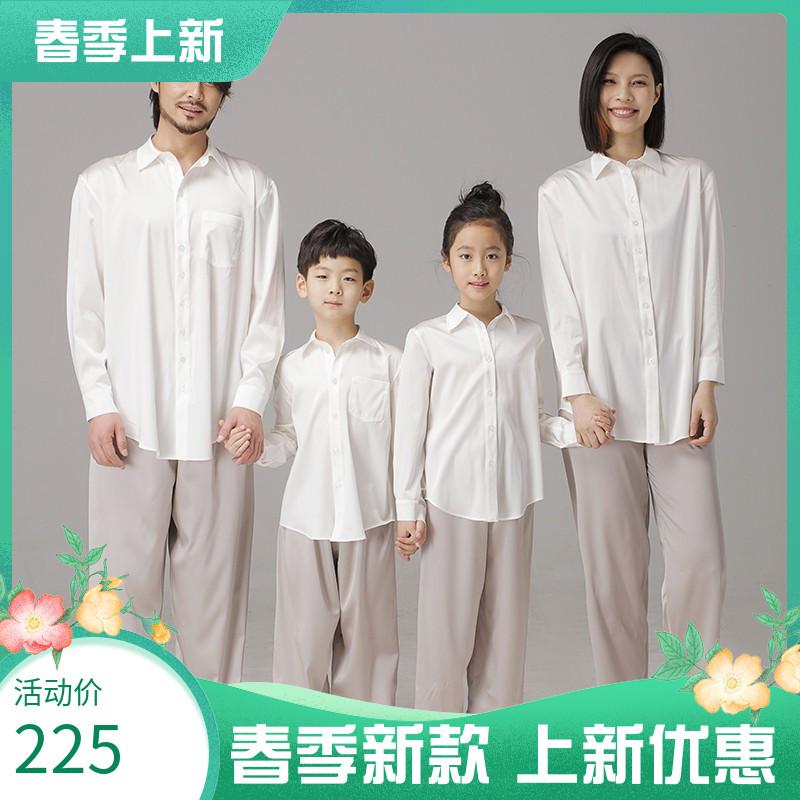 2021新款亲子装T恤春装新款母子母女装父子父女全家装情侣装衬衫