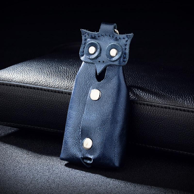 Owl buckle key zero purse womens household key bag waist hanging head leather mens car key bag