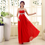 2015 new red bride wedding toast clothing slim fit long dinner dress with purple fashion dresses