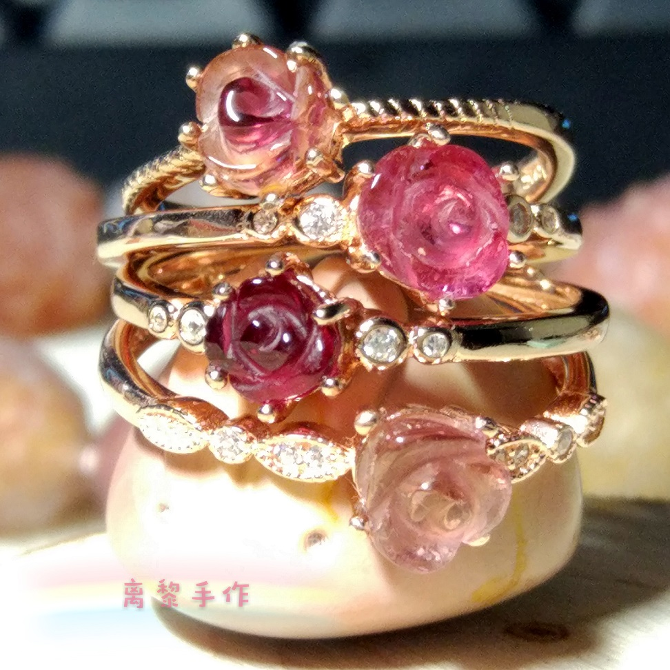 925 Sterling Silver Rose Gold Plated natural tourmaline rose carving inlaid with colorful Gemstone Crystal Ring
