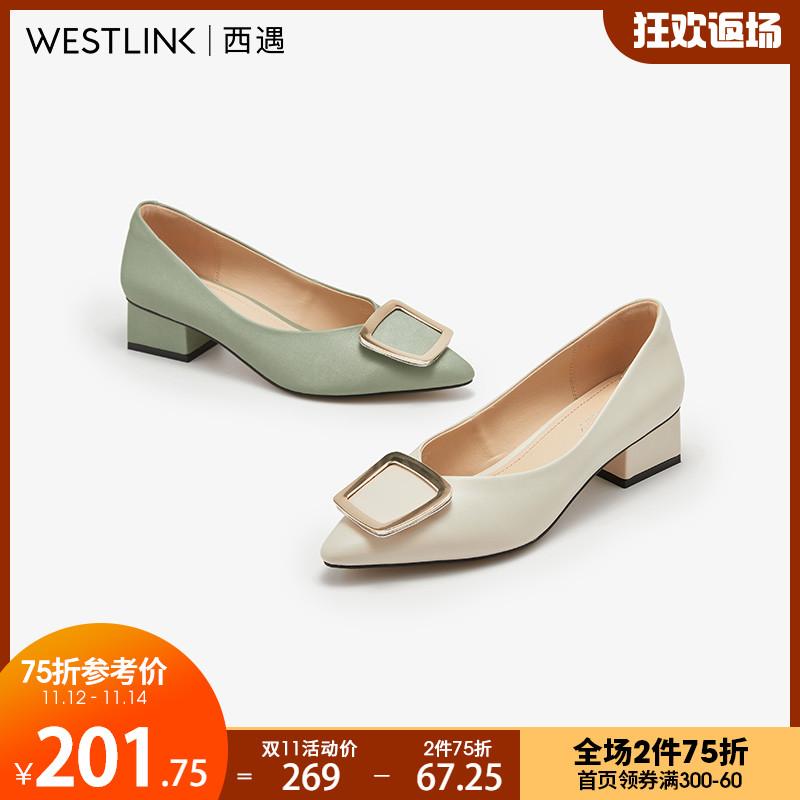 西遇粗跟单鞋女浅口高跟鞋2020秋季新款优雅尖头方扣舒适奶奶鞋女