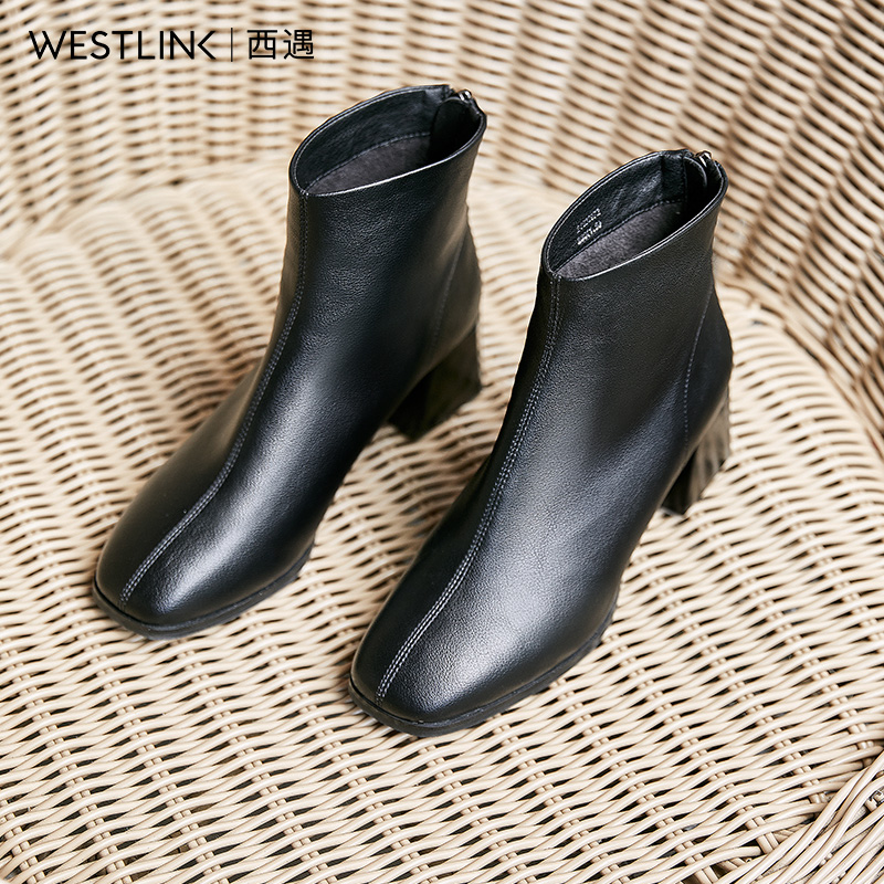 West encounter square toe short boots women thick heel 2020 new winter zipper high heel Chelsea boots women ankle boots thin skinny boots